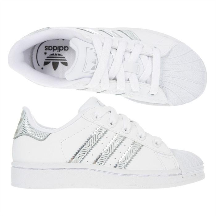 Hommes Femmes Adidas Originaux Superstar 2 Blanc Argent